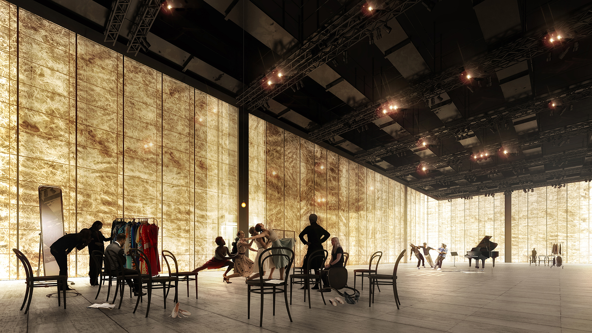 Rendering of the rehearsal space at the Ronald O. Perelman Performing Arts Center at the World Trade Center