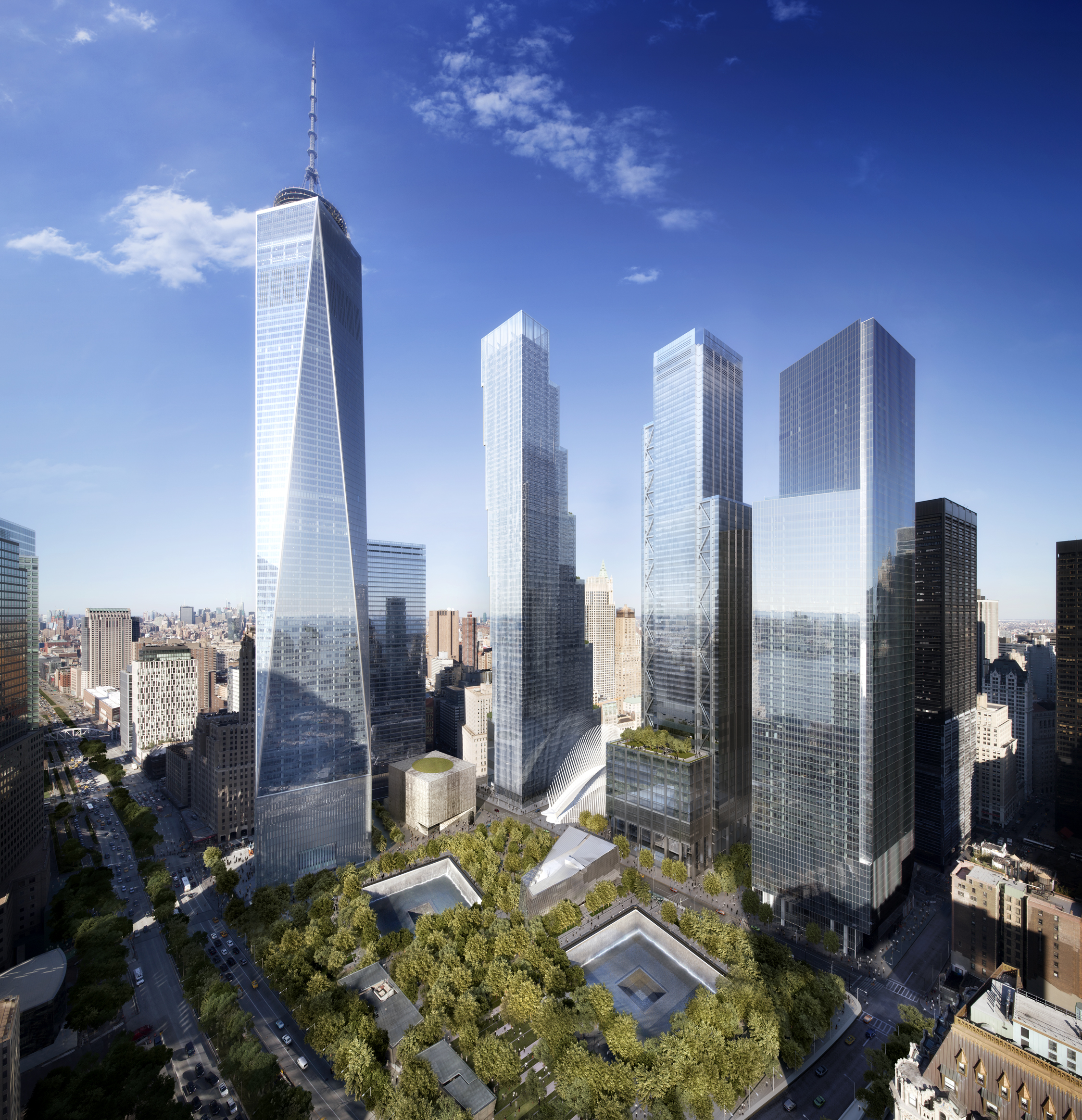 Aerial rendering of the World Trade Center, with the Perelman Performing Arts Center. Rendering by DBOX