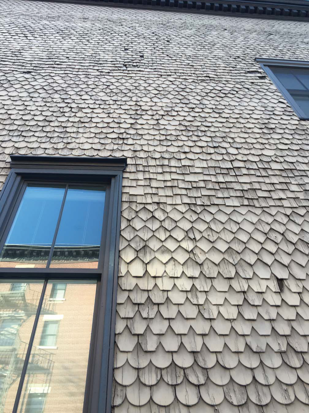 Existing shingles at 303 Henry Street