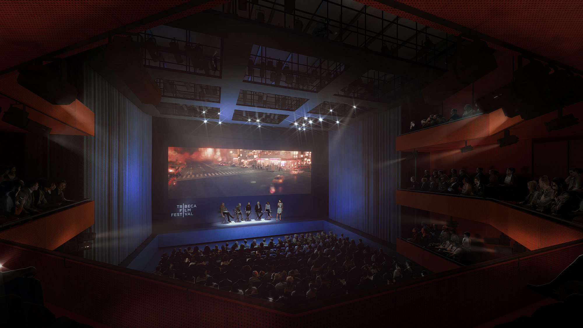 Rendering of Ronald O. Perelman Performing Arts Center at the World Trade Center for a film screening. Rendering by LUXIGON
