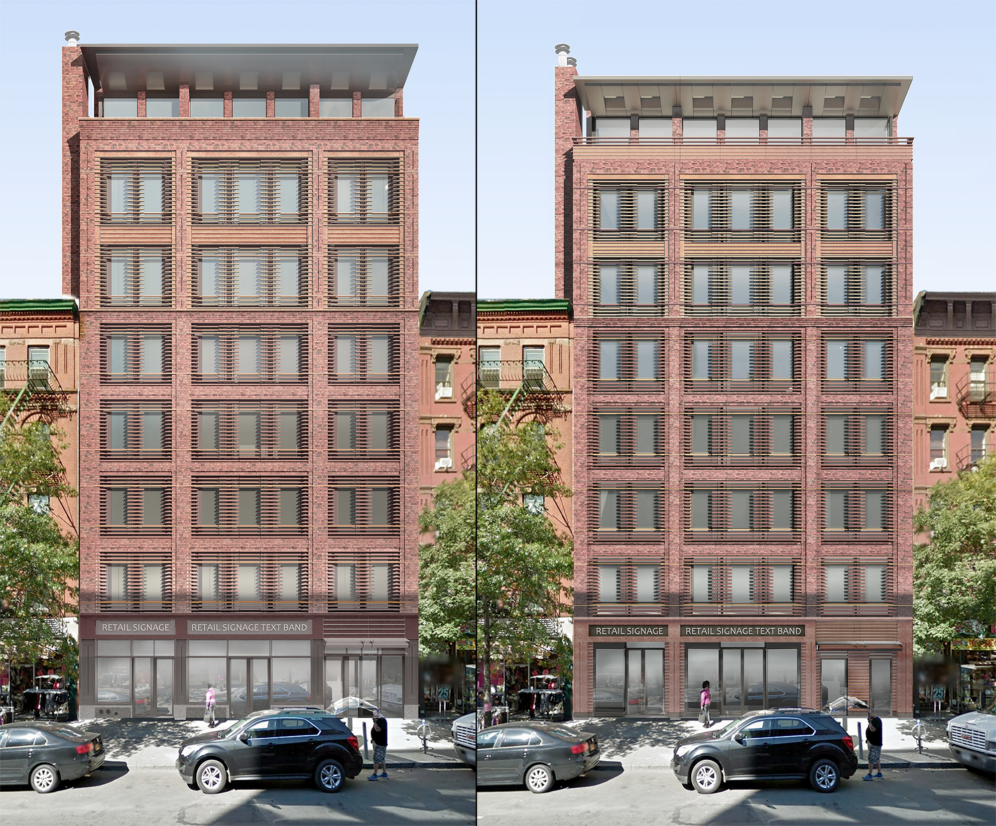 Previous proposal and current proposal for 466-468 Columbus Avenue