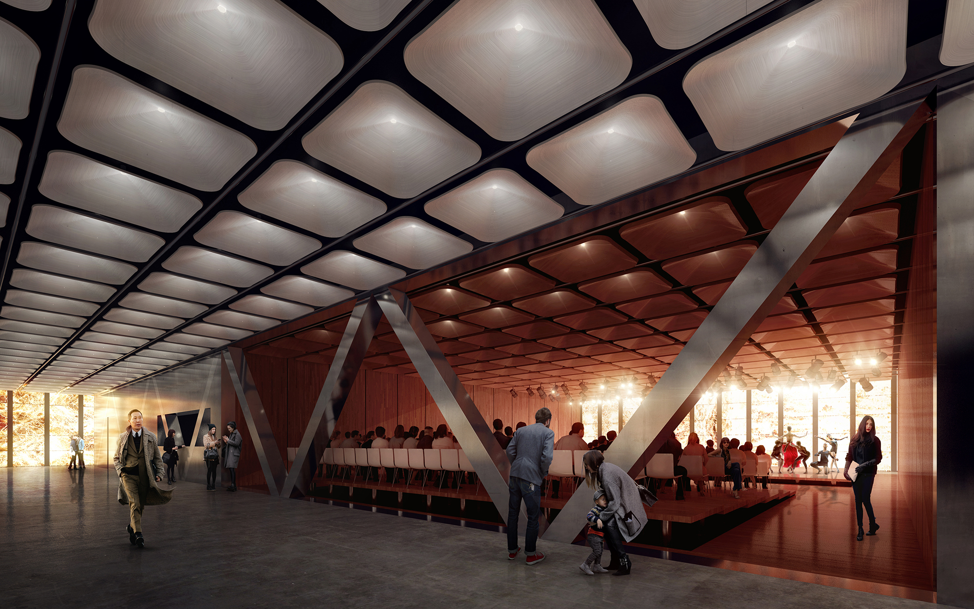 Rendering of community cabaret configuration of the lobby level restaurant at the Ronald O. Perelman Performing Arts Center at the World Trade Center. Rendering by Luxigon