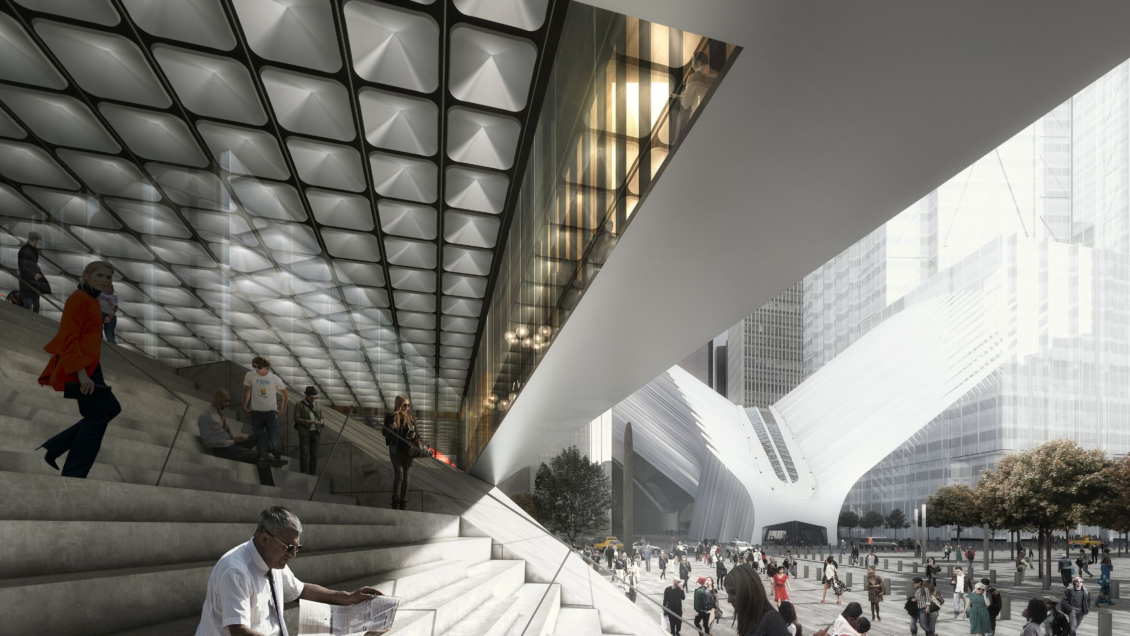 Day rendering of the exterior stairs at the Ronald O. Perelman Performing Arts Center at the World Trade Center. Rendering by LUXIGON
