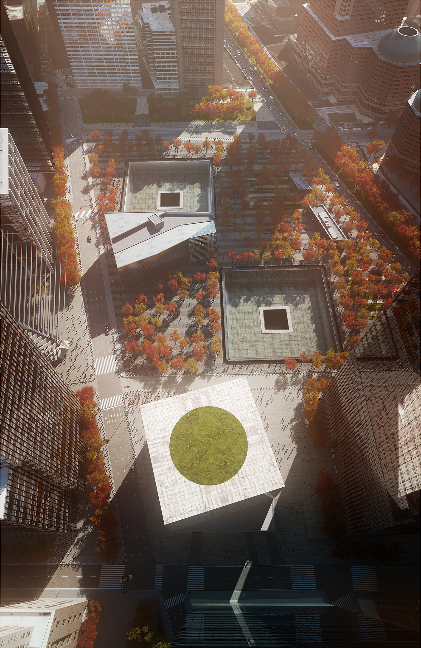 Aerial rendering of the Perelman Performing Arts Center at the World Trade Center. Rendering by K18