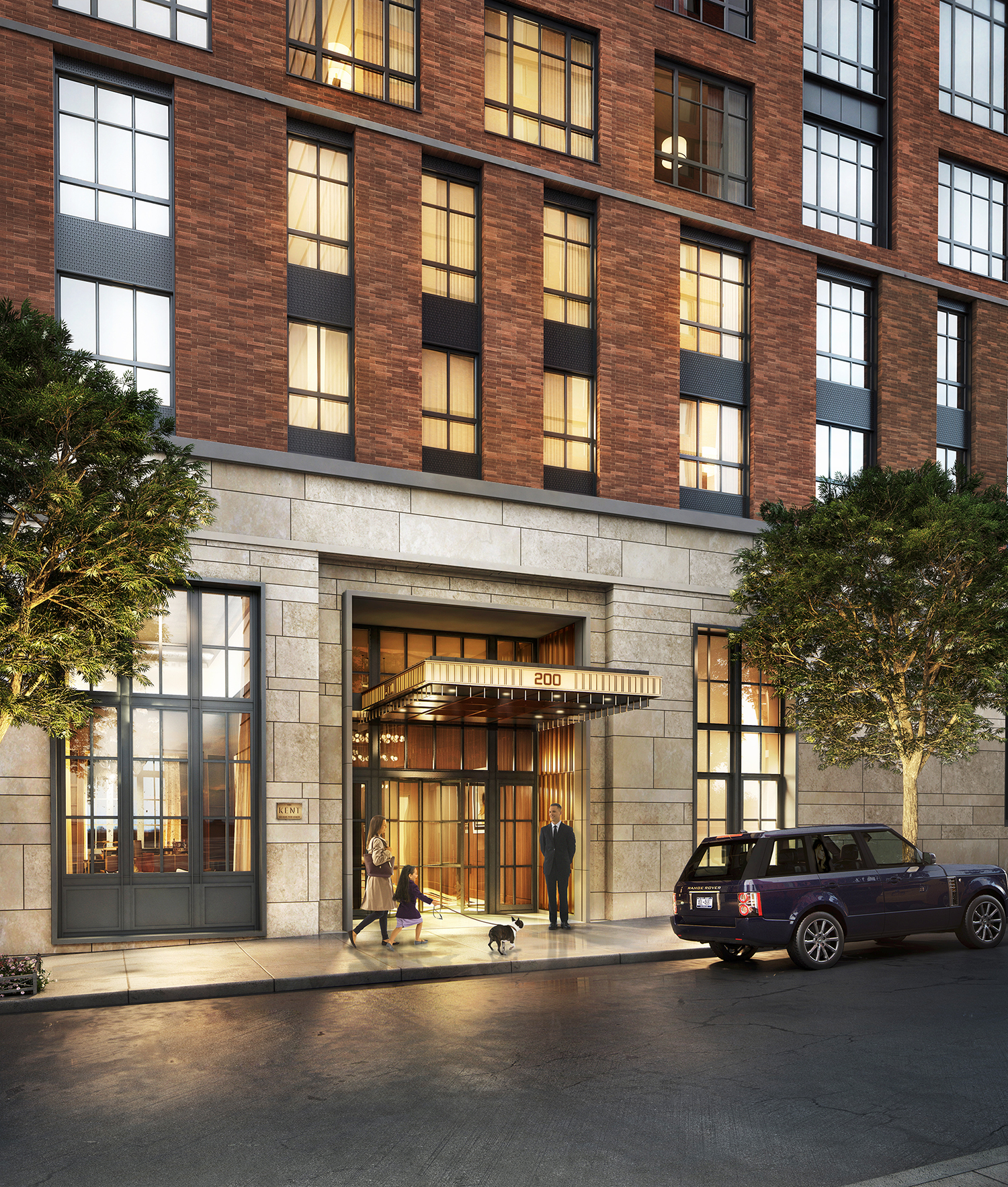 Rendering of the entrance to The Kent, 200 East 95th Street