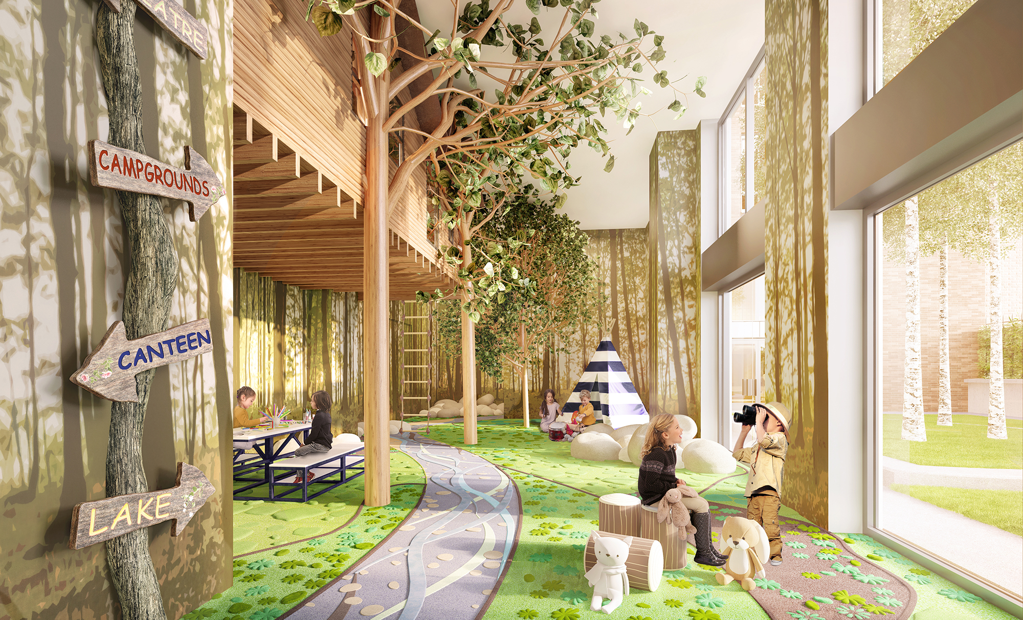 Rendering of the children's playroom at The Kent, 200 East 95th Street