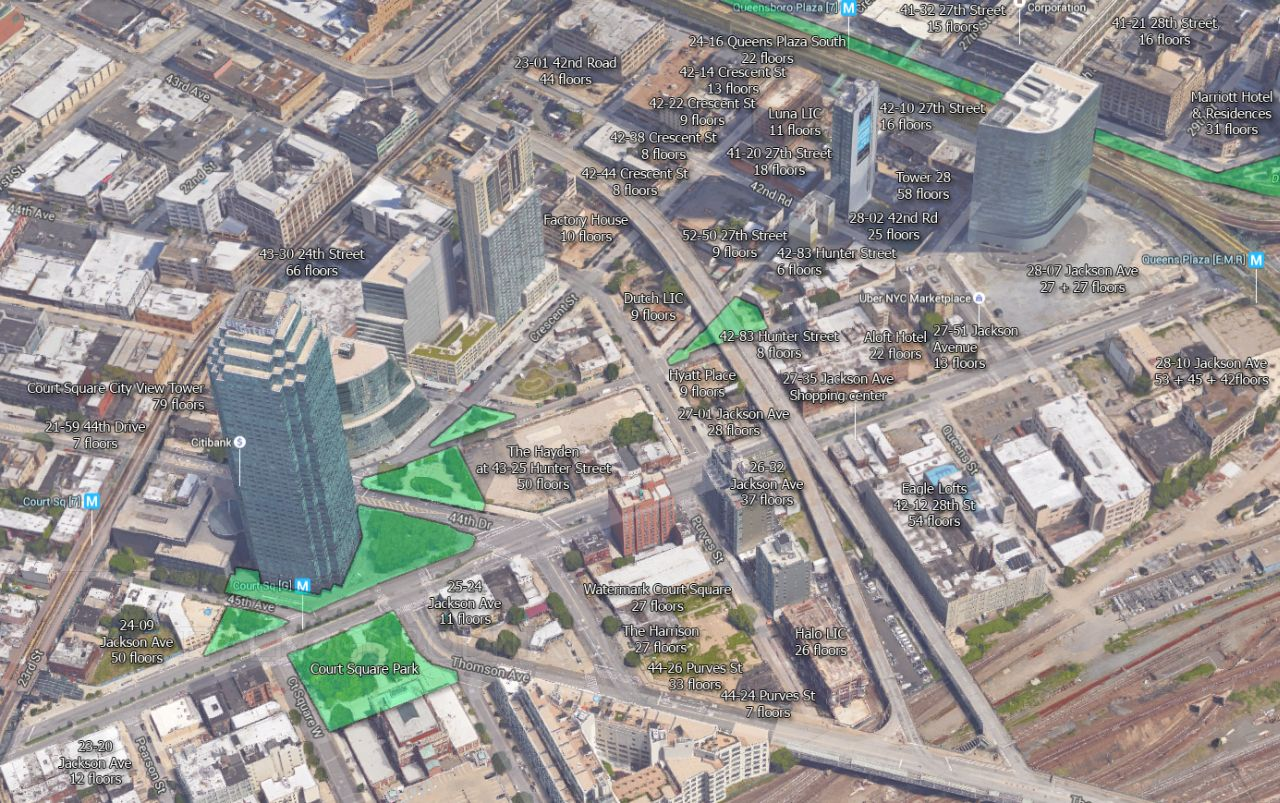 Ongoing projects in the neighborhood, with existing green space highlighted in green. Image underlay by Google, dating around 2014.