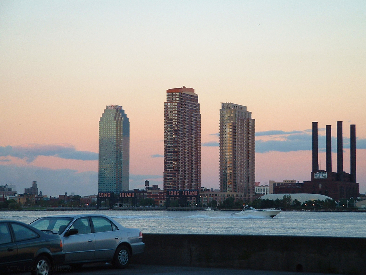 Long Island City skyline in the foreground. October 2003. Left to right: One Court Square, Citylights, Avalon Riverview, and the former Hunters Point Power Plant.