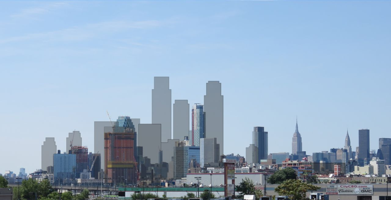 Long Island City skyline in 2016, with its expected 2020 silhouette overlaid on top. Photos and graphics by the author unless indicated otherwise.