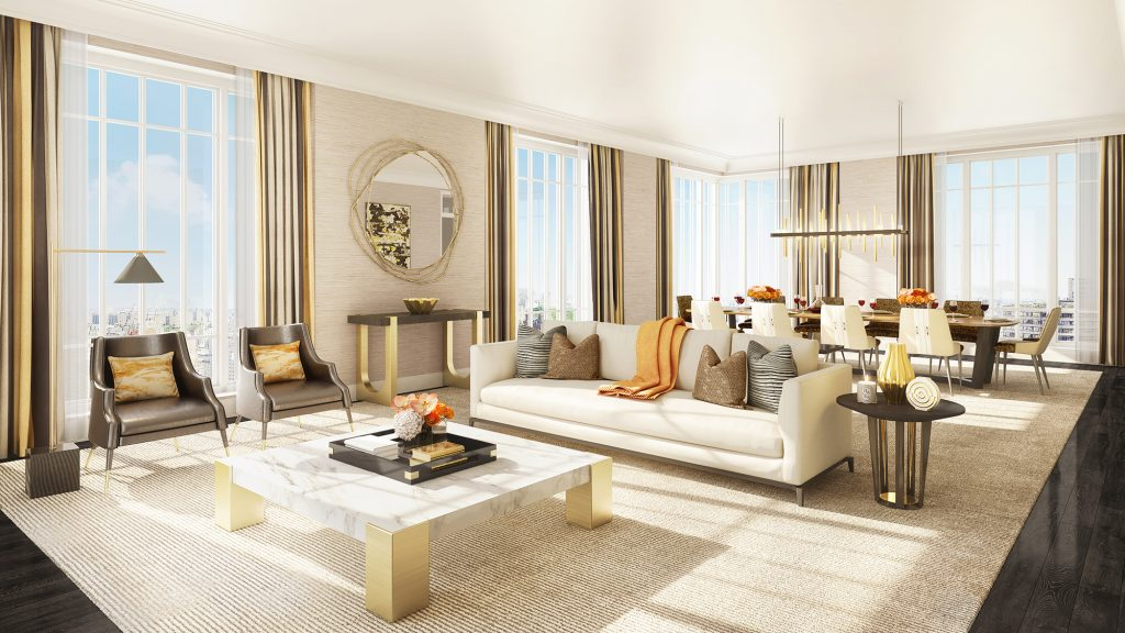 Rendering of a living room at The Kent, 200 East 95th Street