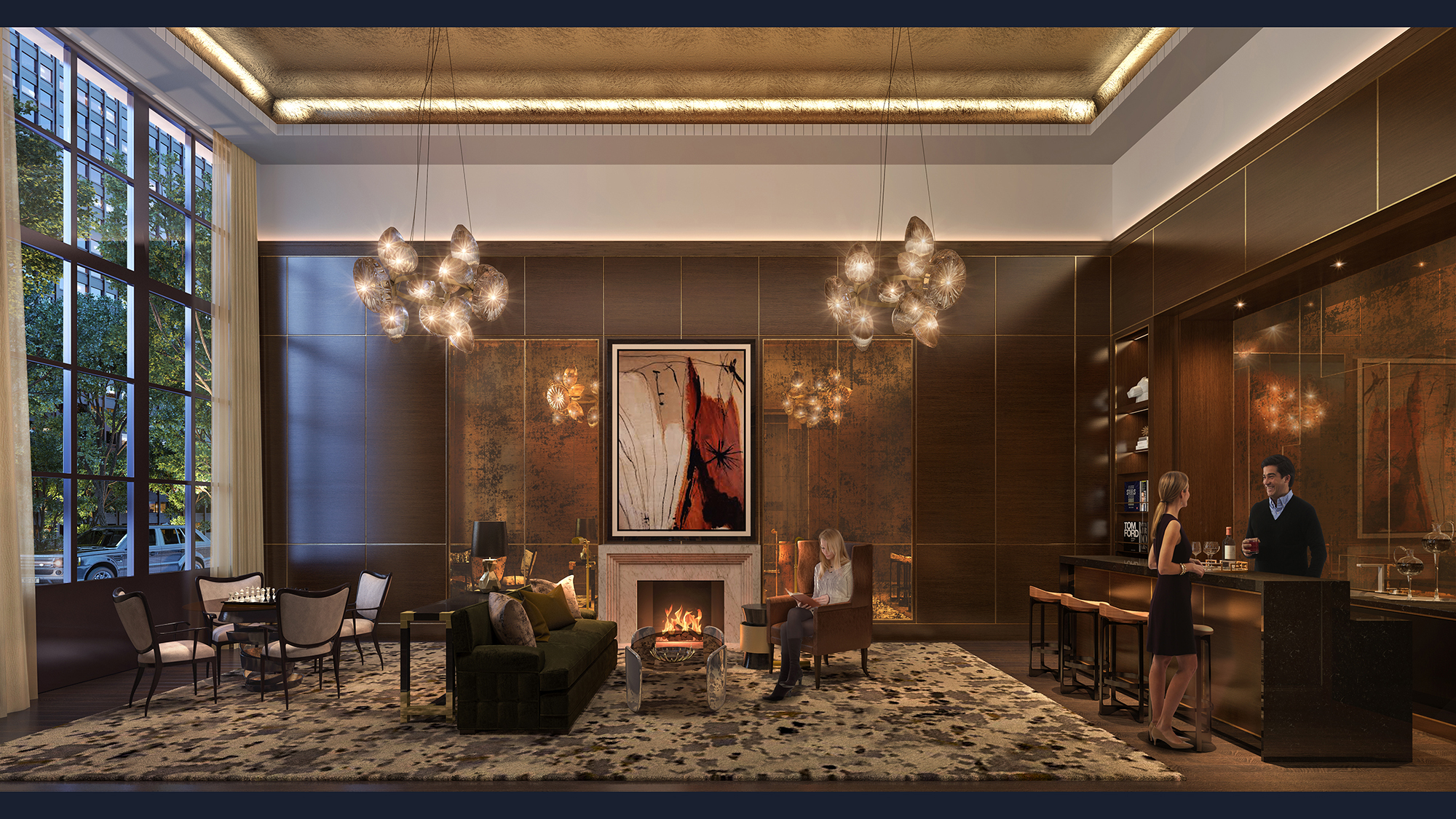 Rendering of the lobby lounge at The Kent, 200 East 95th Street