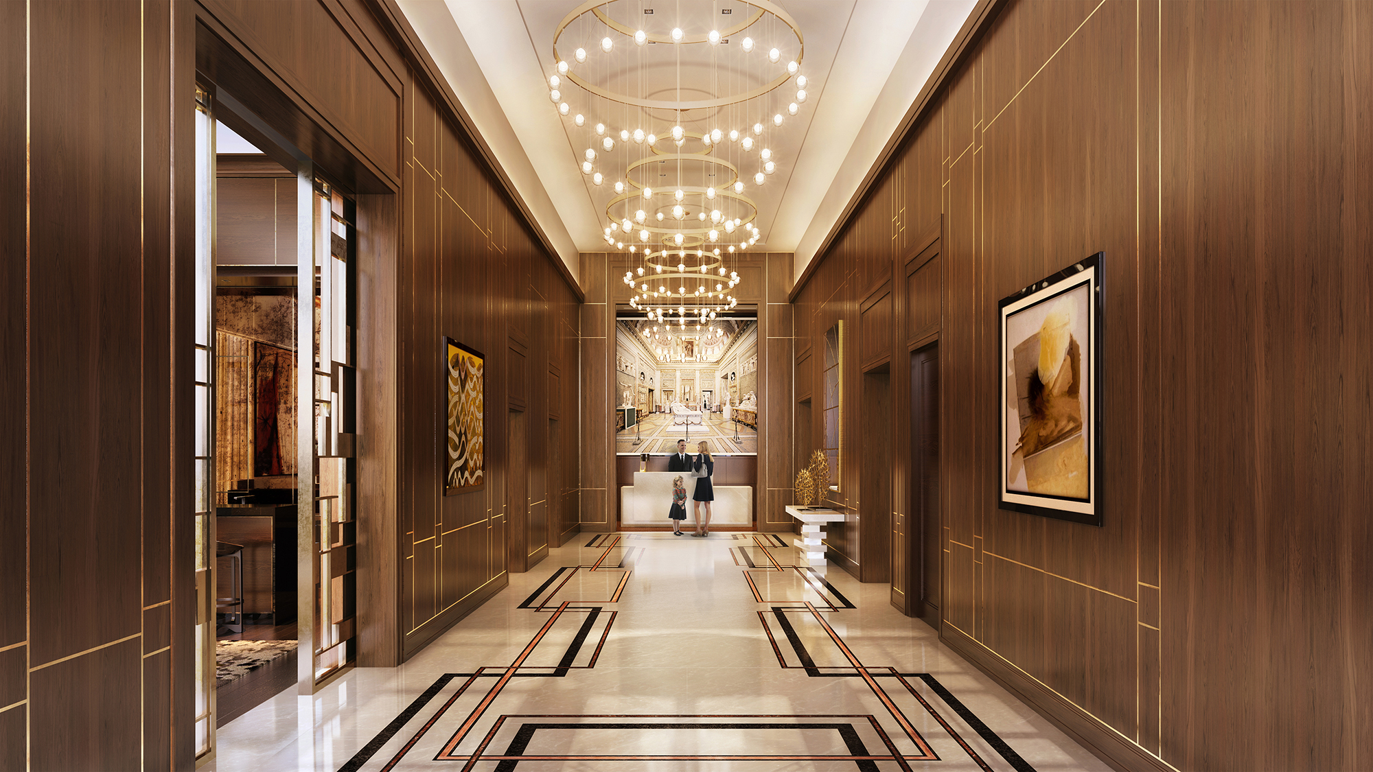 Rendering of the lobby at The Kent, 200 East 95th Street
