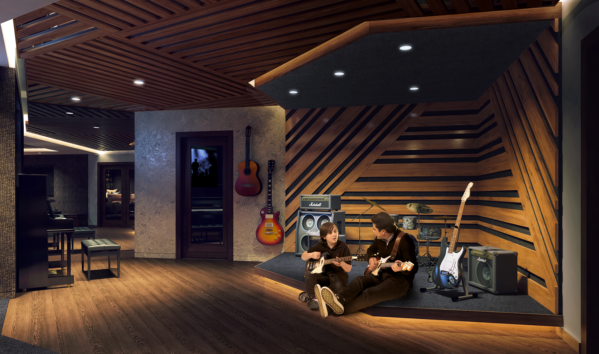 Rendering of the Sound Lounge at The Kent, 200 East 95th Street