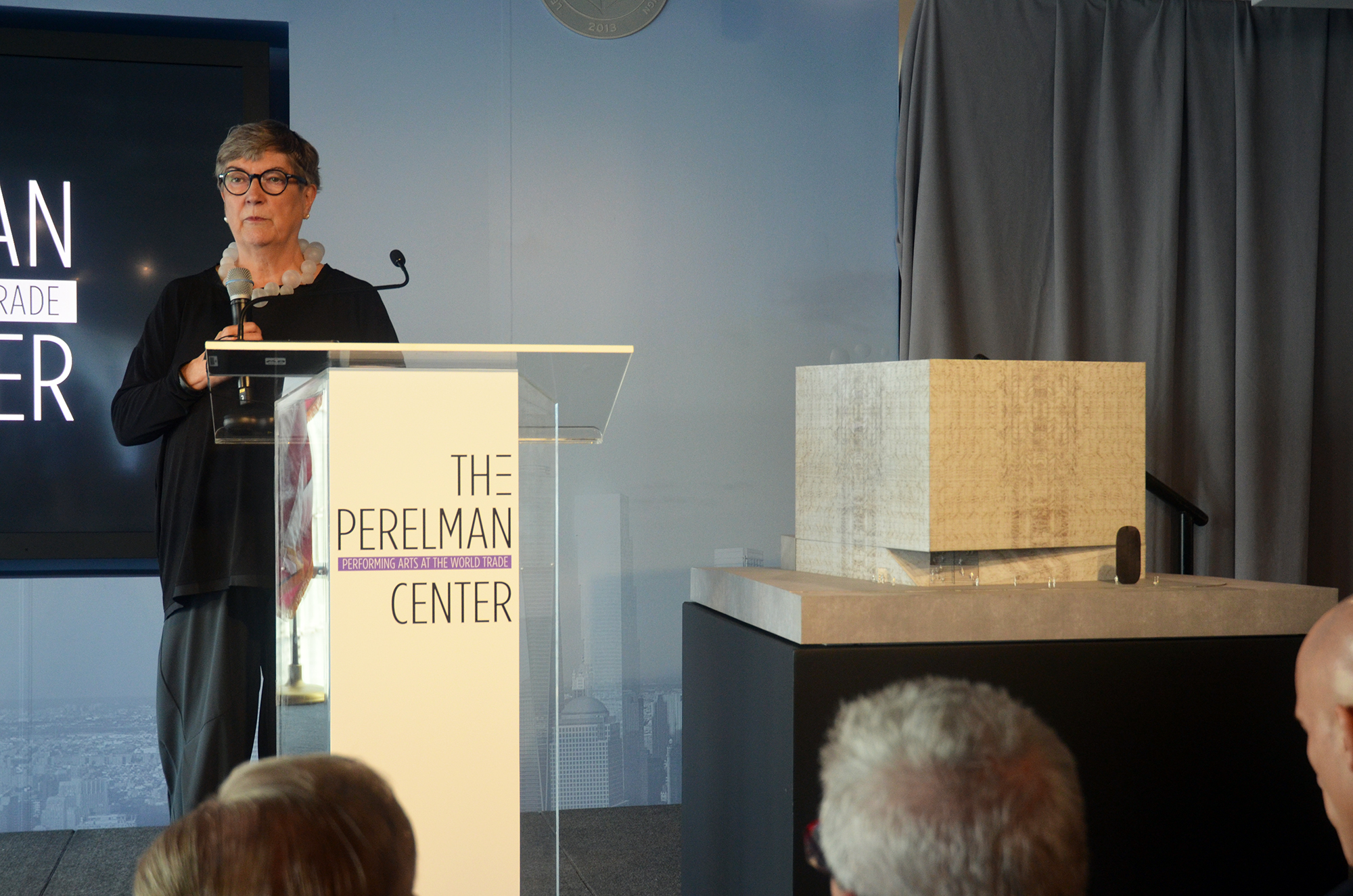 Maggie Boepple at the design unveiling for the Ronald O. Perelman Performing Arts Center at the World Trade Center. Photo by Evan Bindelglass