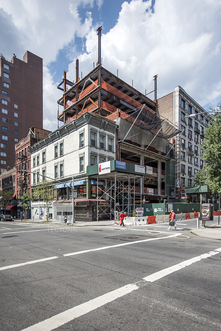 Construction at the Moise Safra Community Center, 130 East 82nd Street. Photo by Tectonic for YIMBY