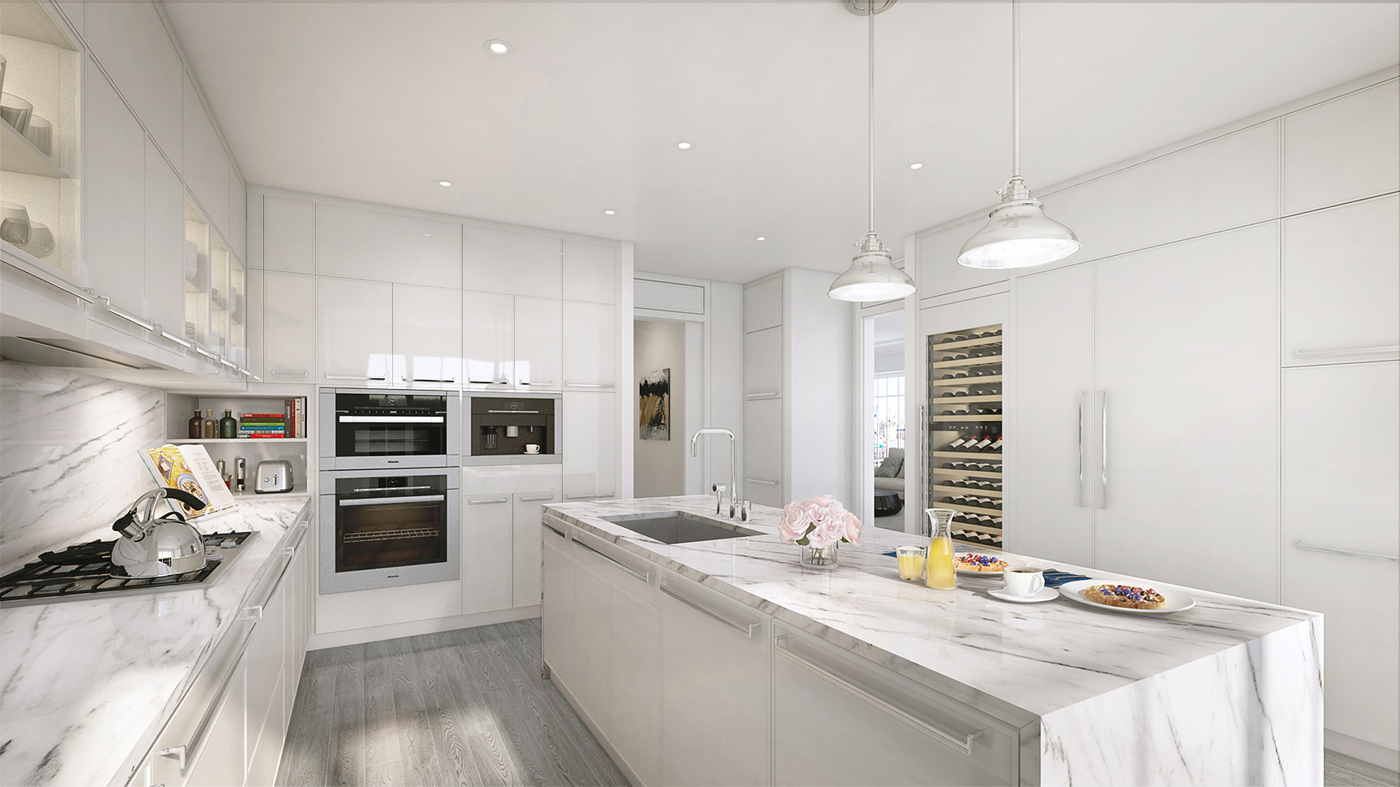 Rendering of a kitchen at The Kent, 200 East 95th Street