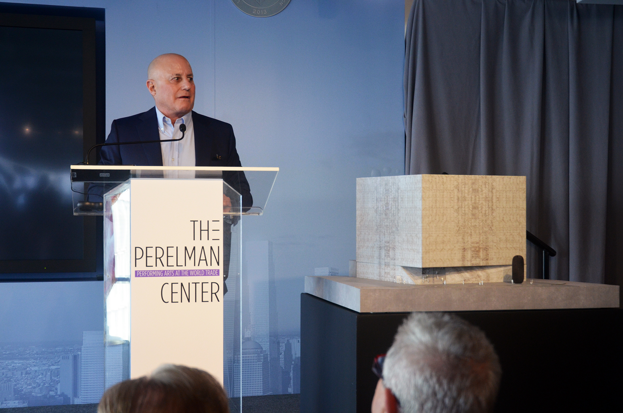 Ronald O. Perelman at the design unveiling for the Ronald O. Perelman Performing Arts Center at the World Trade Center. Photo by Evan Bindelglass