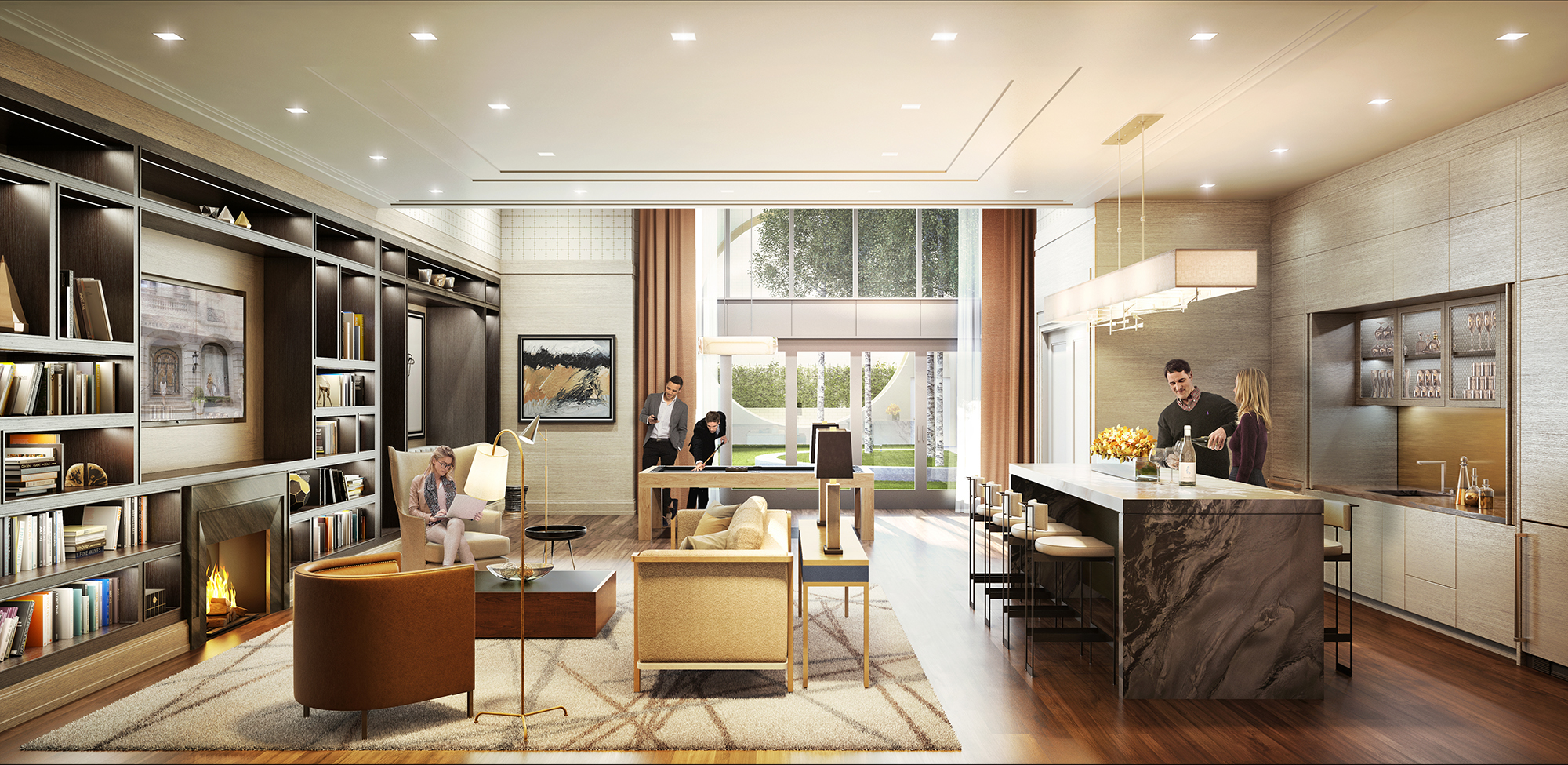 Rendering of the terrace lounge at The Kent, 200 East 95th Street
