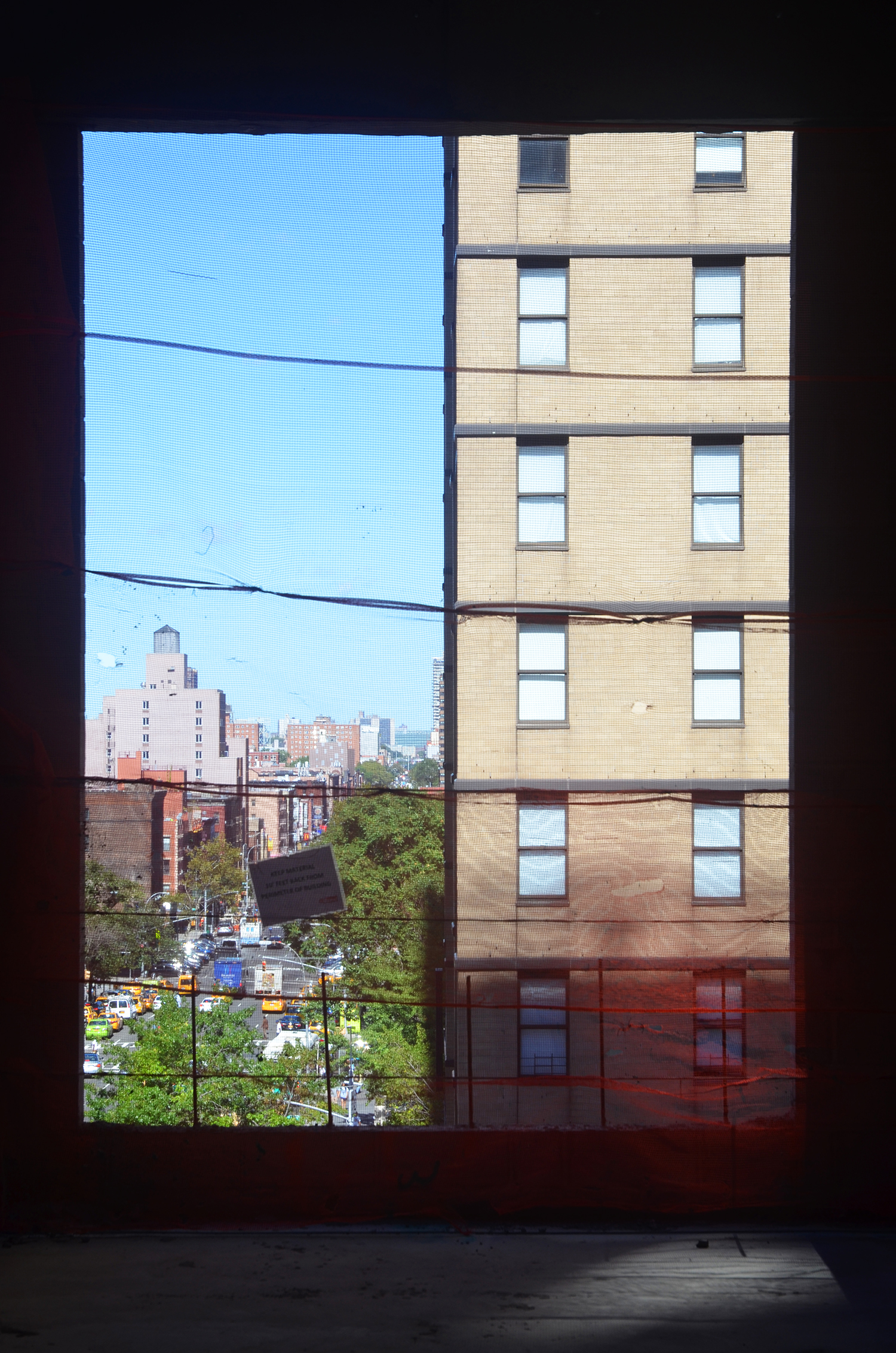 A large window opening on the eighth floor of The Kent, 200 East 95th Street