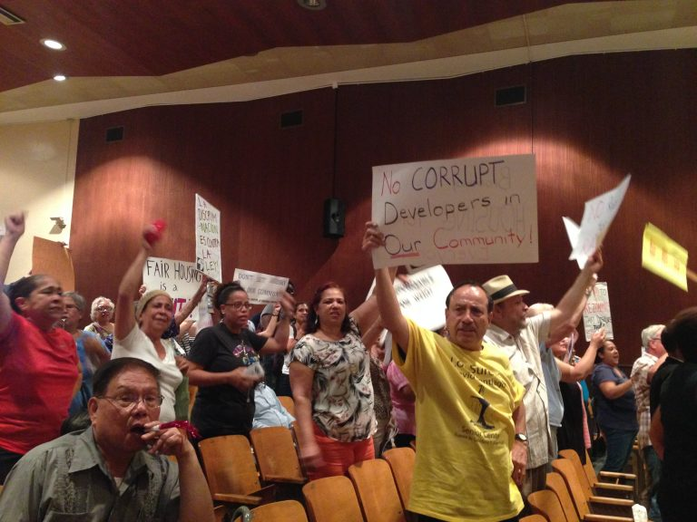 Housing activists chant during a meeting on Rabsky Group's planned Broadway Triangle development. all photos by Rebecca Baird-Remba for YIMBY