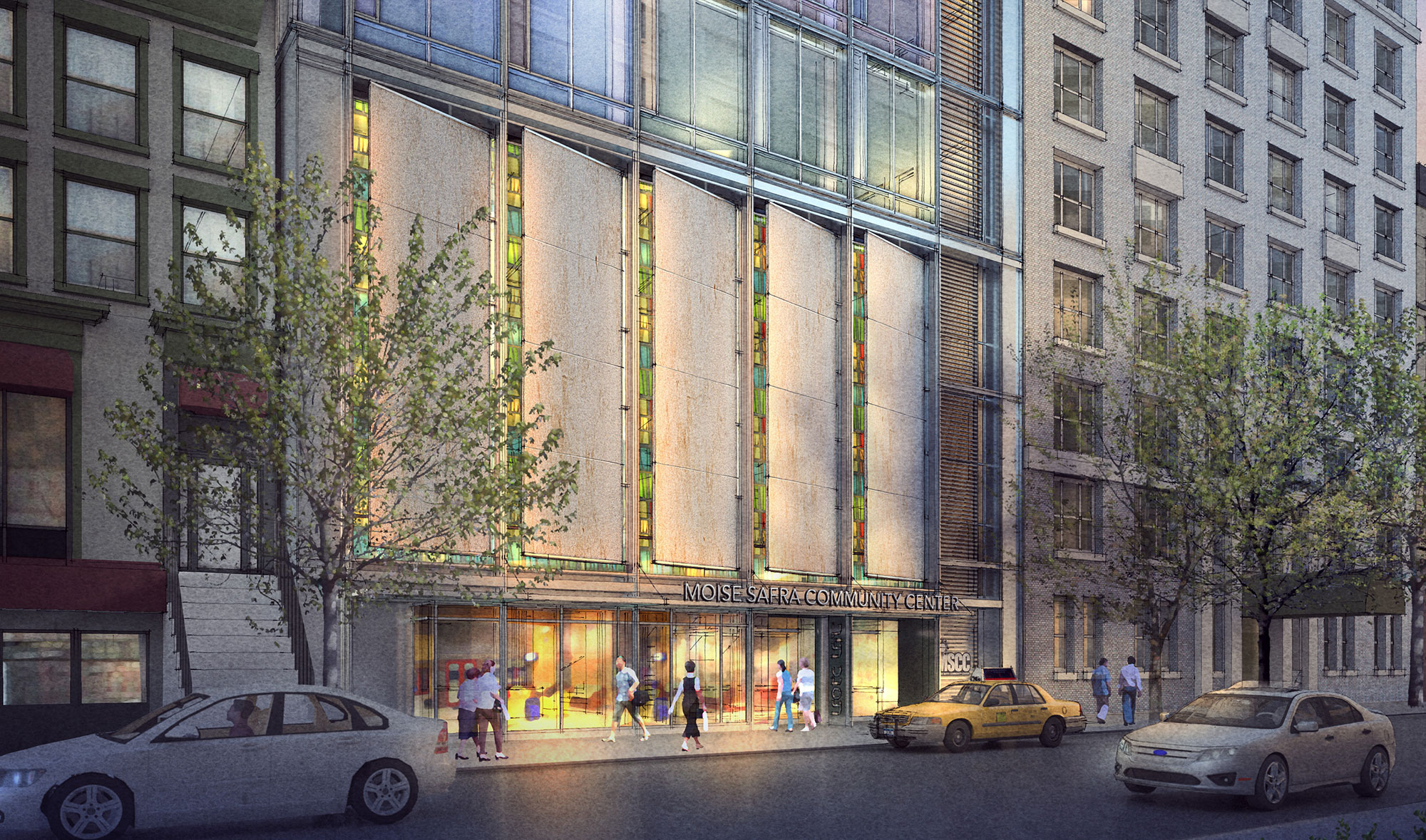 Rendering of Moise Safra Community Center, 130 East 82nd Street. By PBDW Architects via MSCC