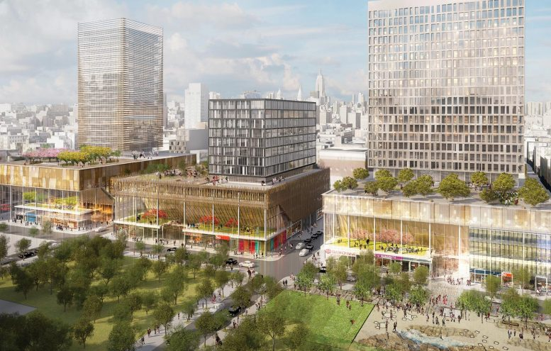 Sites 2, 3, and 4 at Essex Crossing. 180 Broome Street is on the far right. rendering by SHoP Architects