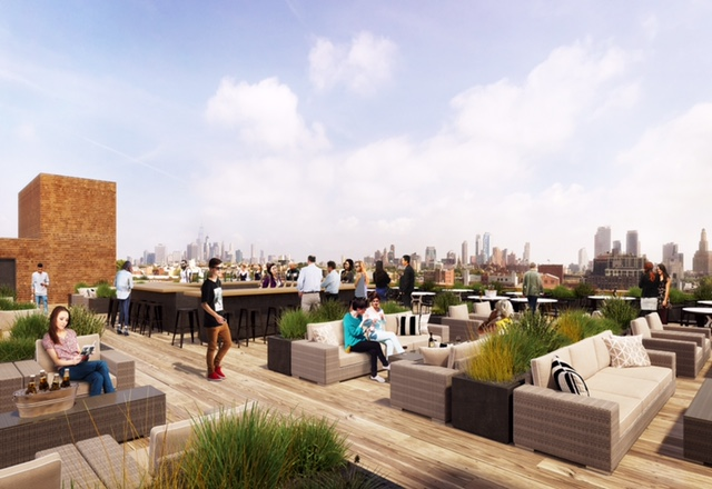 A roof deck at 94 9th Street, rendering by Morris Adjmi Architects