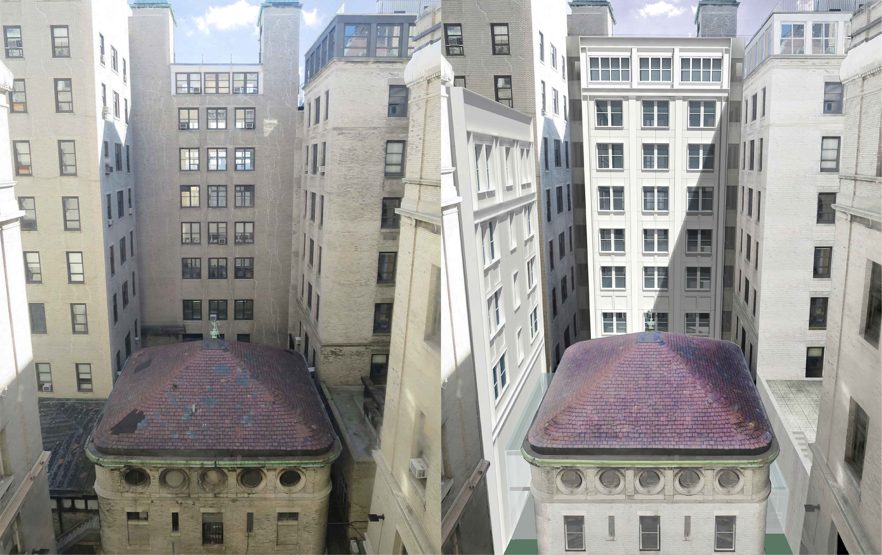 Existing conditions of interior courtyard and carriage house at 30 Morningside Drive (left) and rendering showing restored carriage house and infill between the Scrymser and Plant pavilions