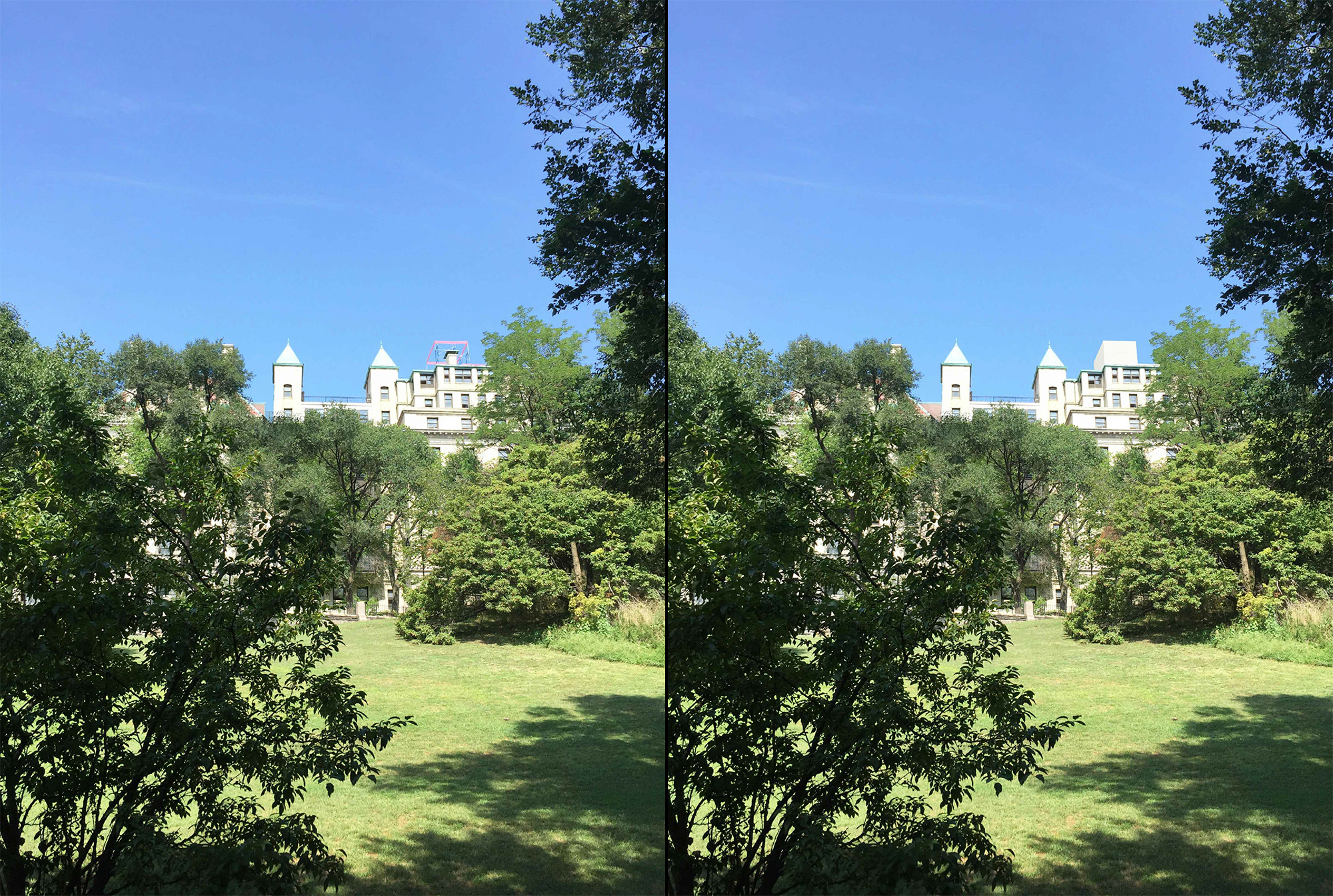 Existing conditions at 30 Morningside Drive as seen from Morningside Park (left) and rendered with bulkhead (right)