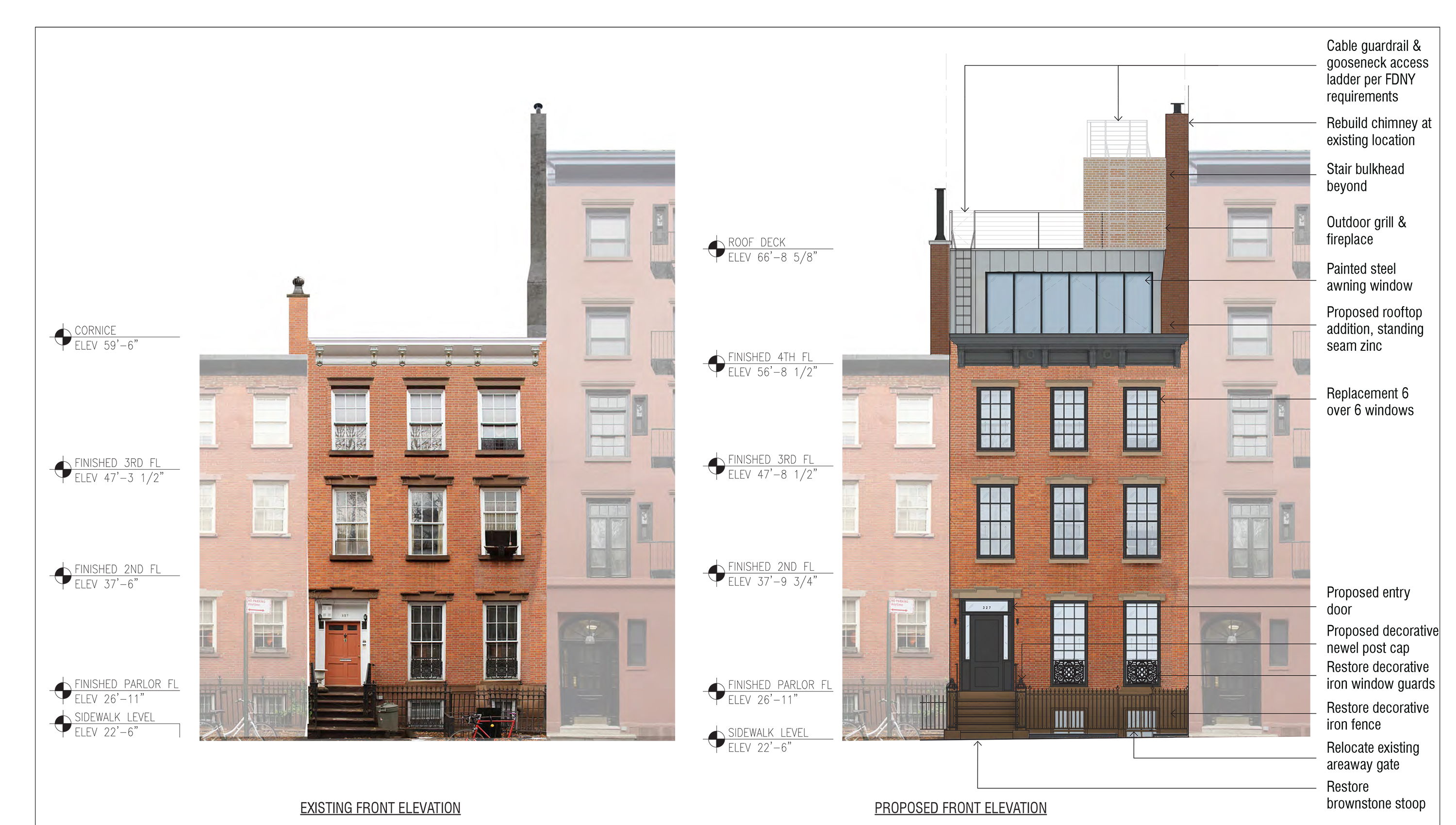 Front elevation plan for 327 West 4th Street