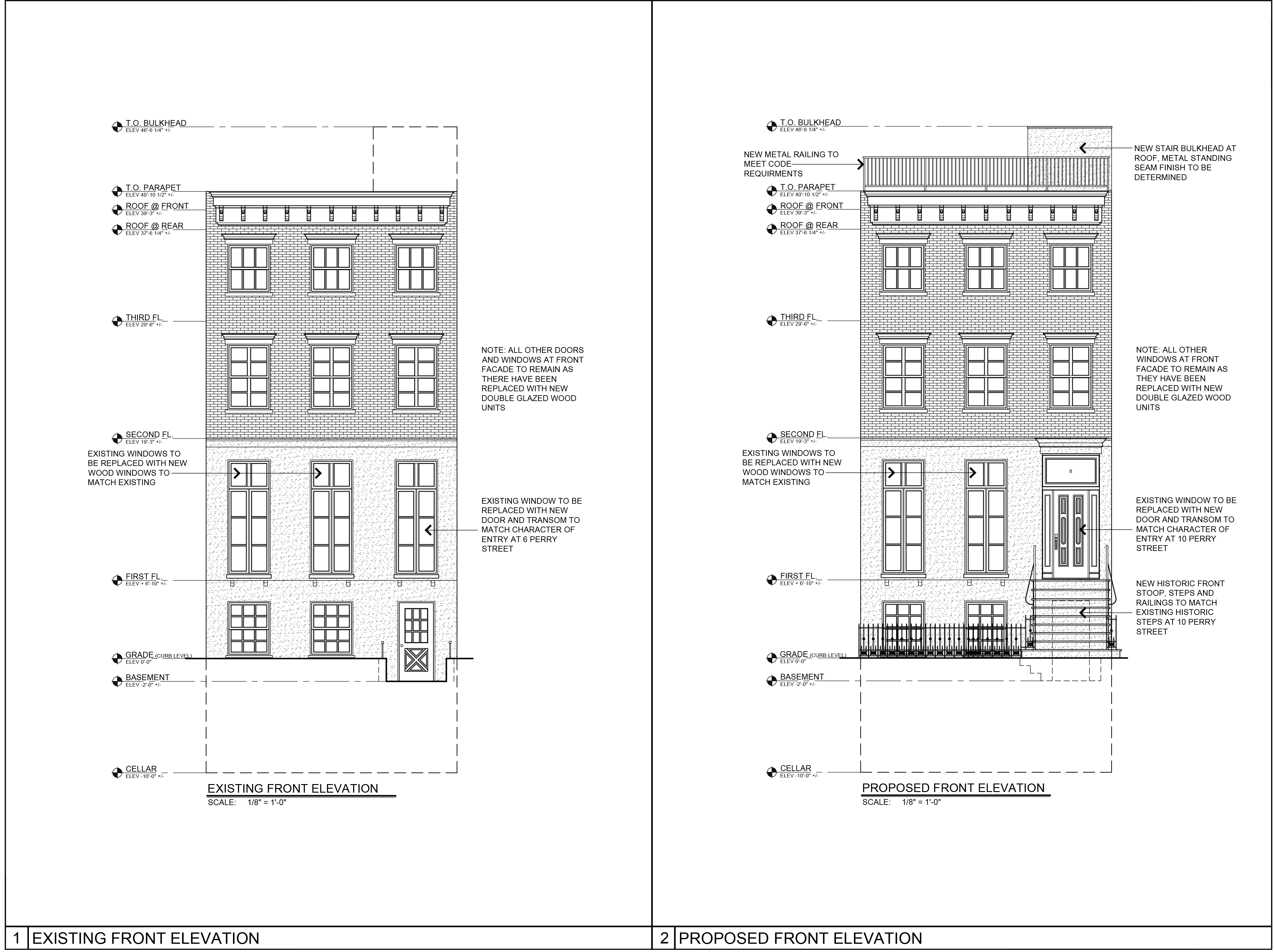 Plan for front elevation of 8 Perry Street, existing and proposed