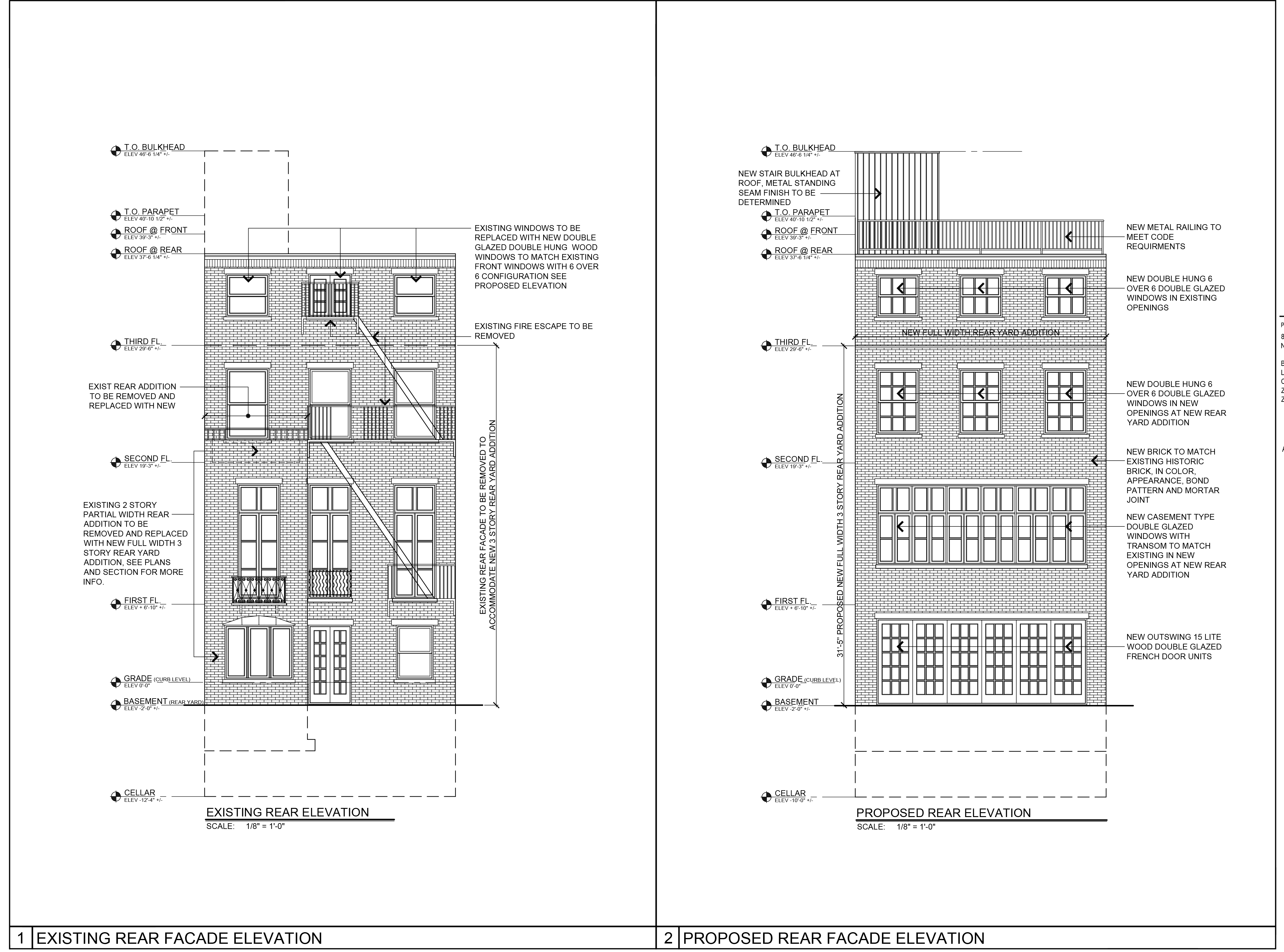 Plan for rear elevation of 8 Perry Street, existing and proposed