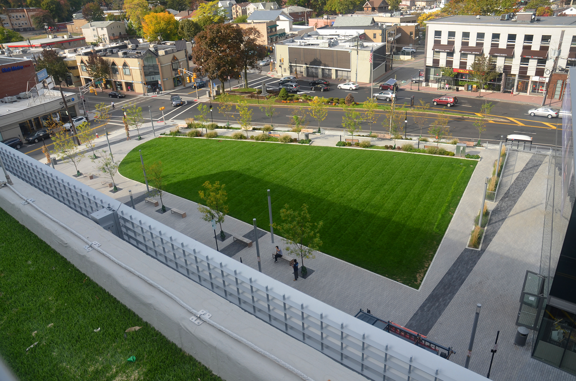 View of the public green space at Hudson Lights