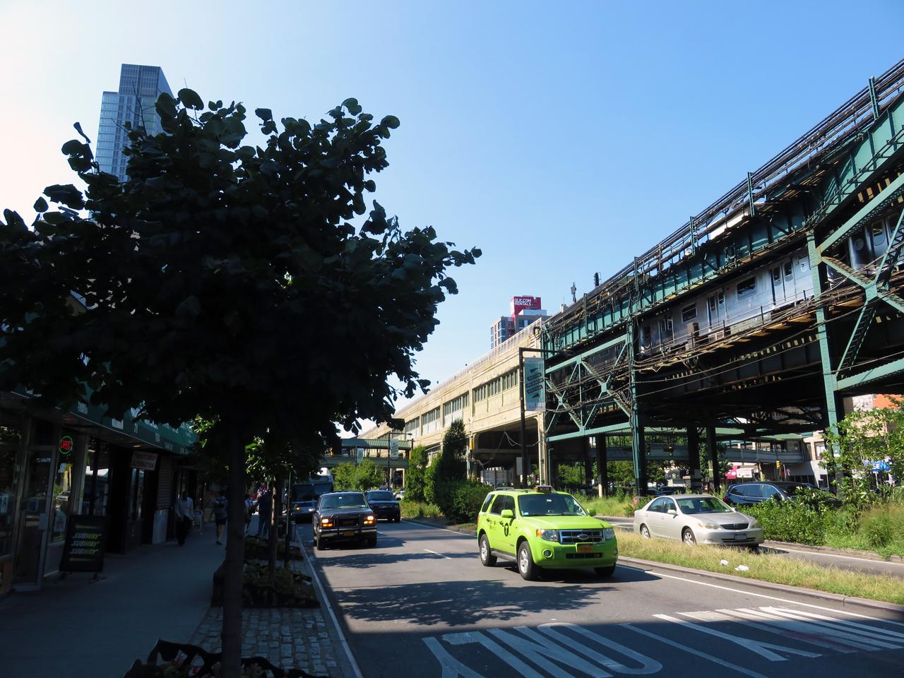 Halfway point between Queens Plaza and Queensboro Plaza (background)