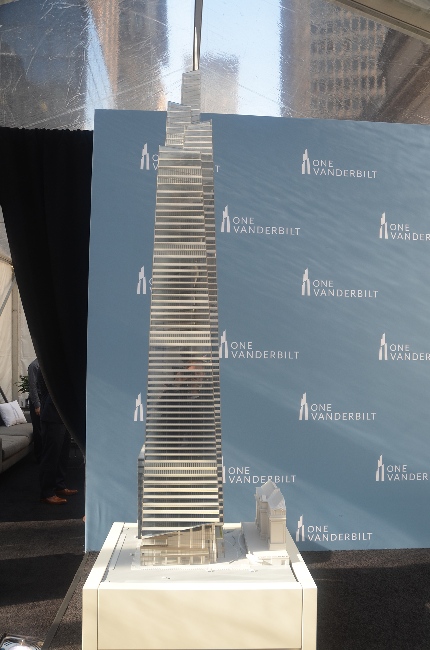 Model of One Vanderbilt with a slice of Grand Central Terminal, seen at the groundbreaking