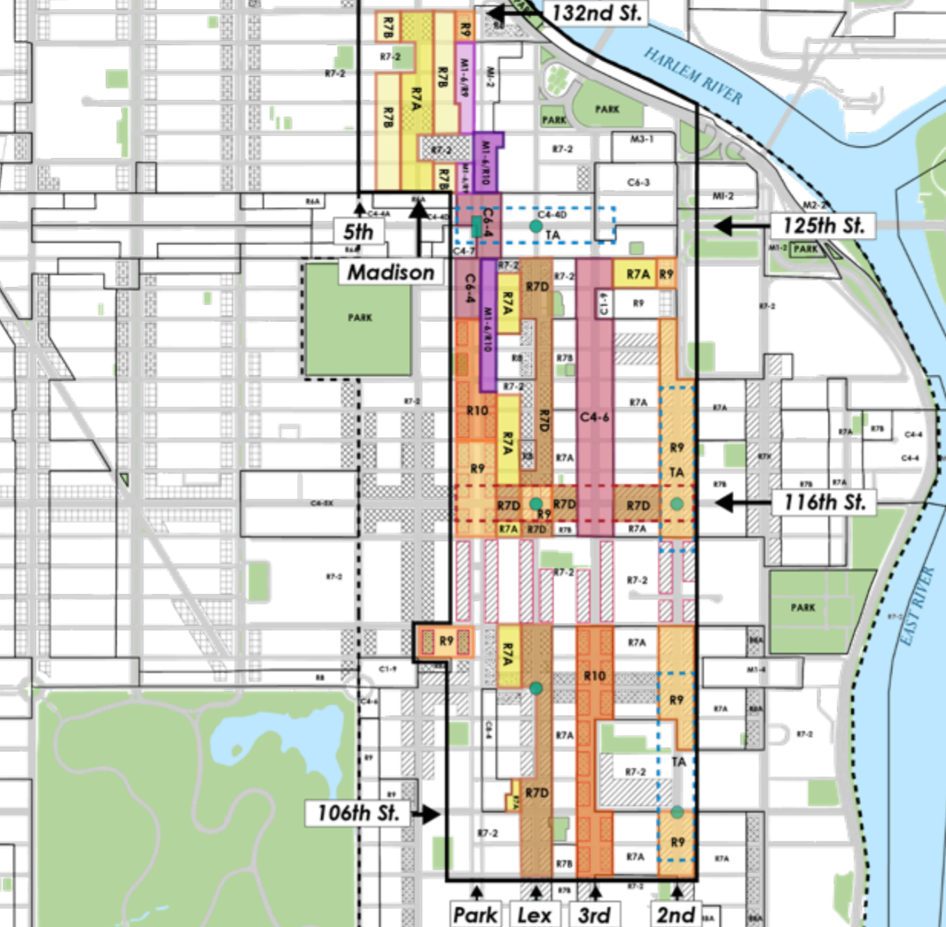Map Of New York Harlem.Initial East Harlem Rezoning Plan Promises 30 Story Towers And Less