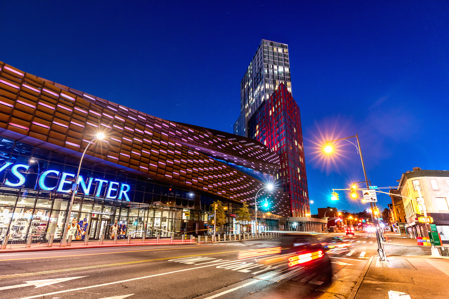 Night-time view of the Barclays Center and 461 Dean Street.