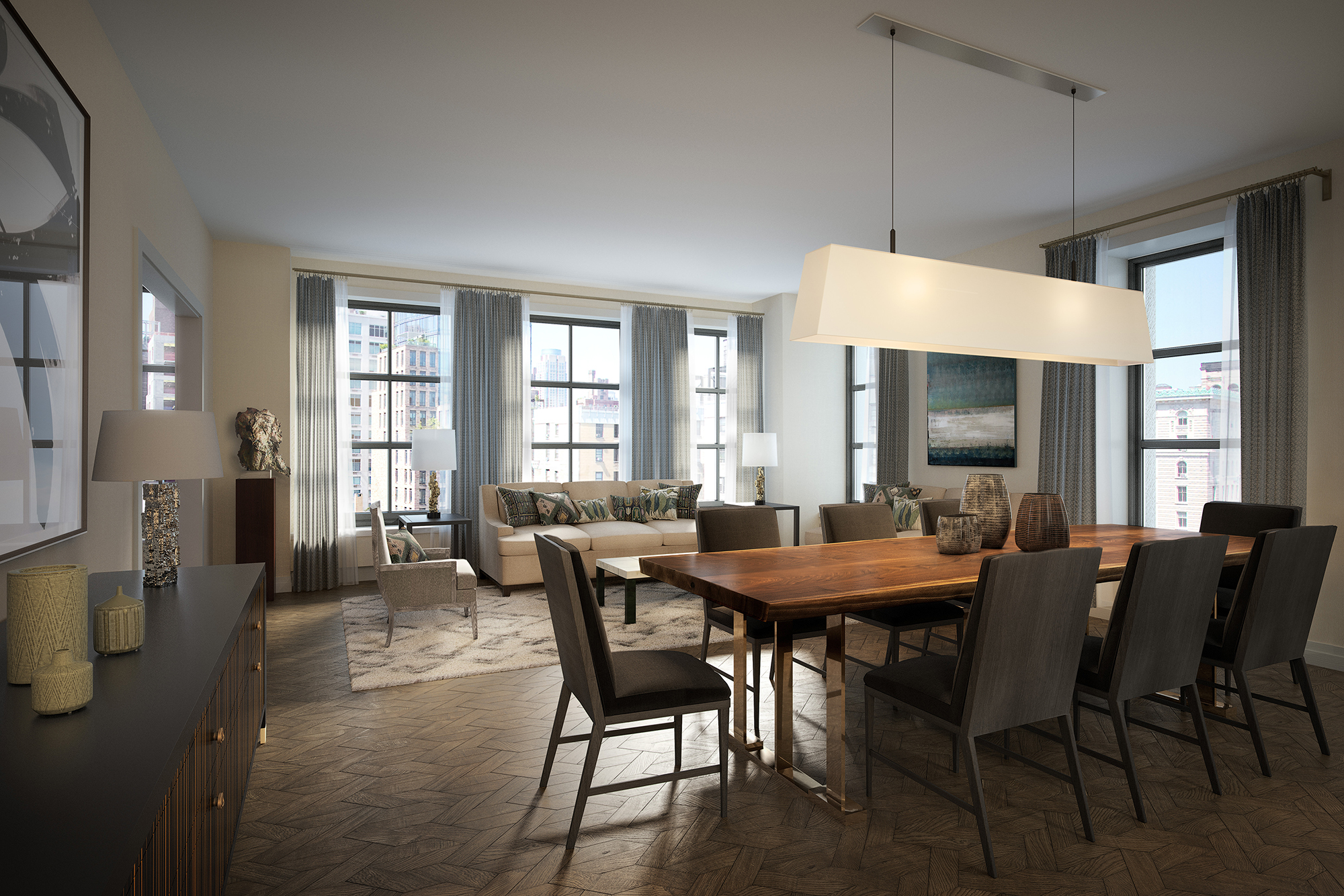 Rendering of the 10th floor living room at 207W79