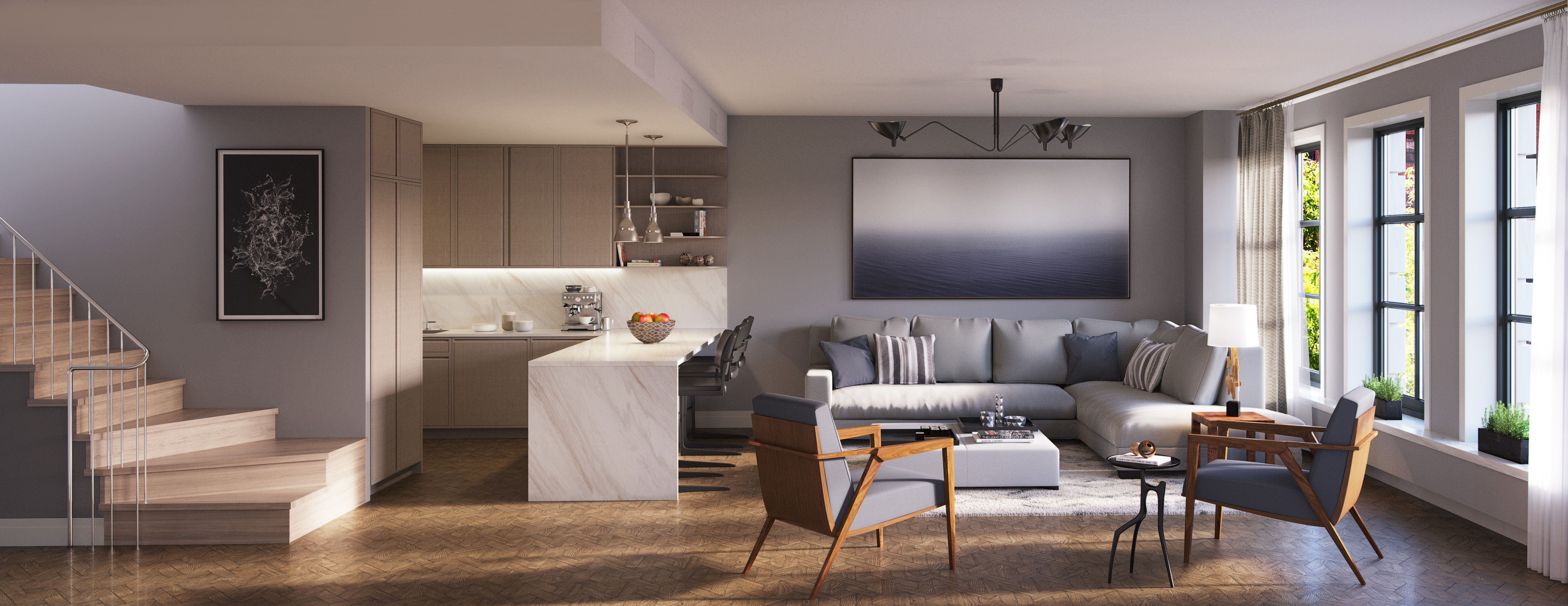 Rendering of lower level of a duplex at 207W79