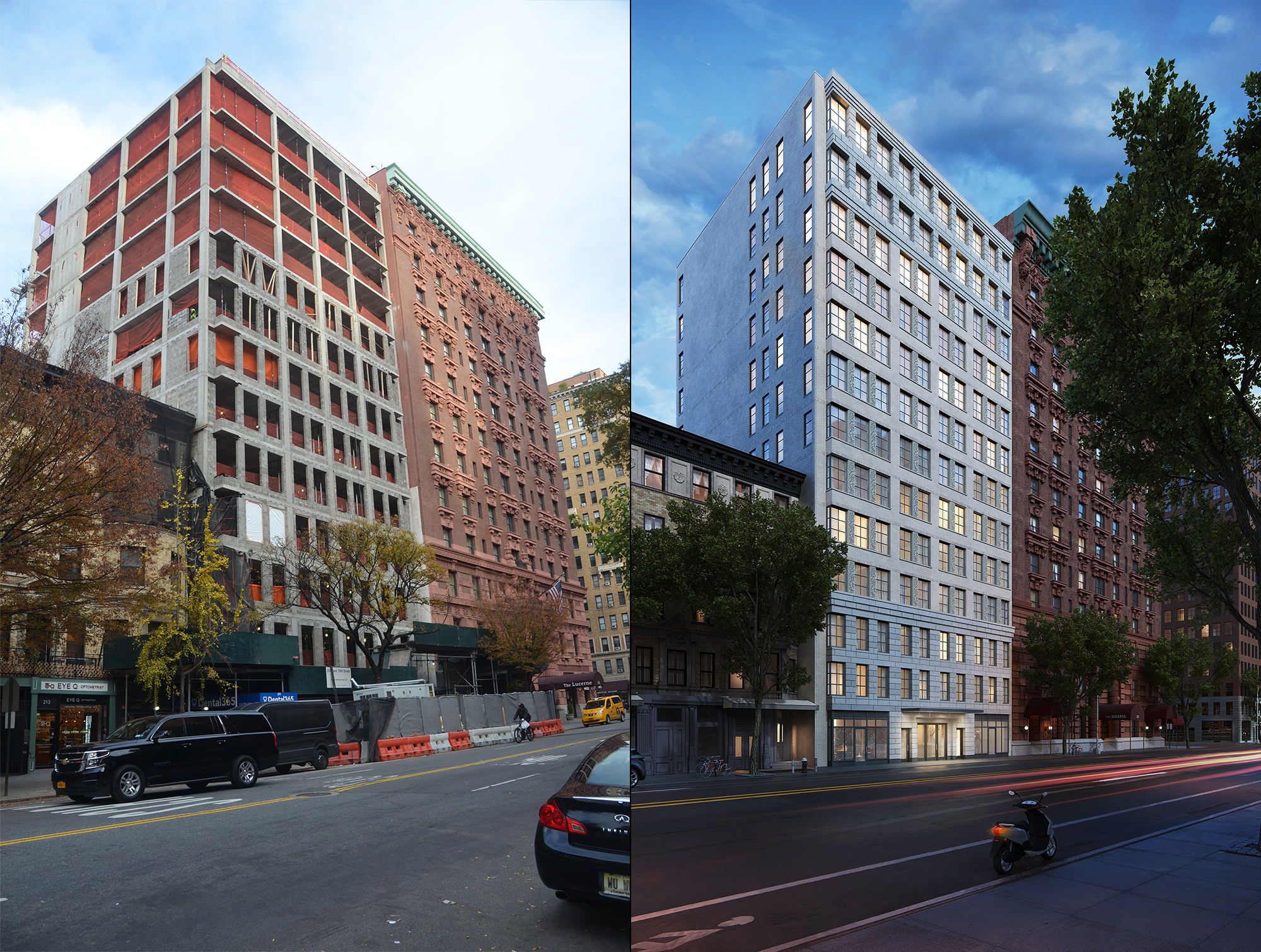 207W79 under construction, and a rendering of it when complete
