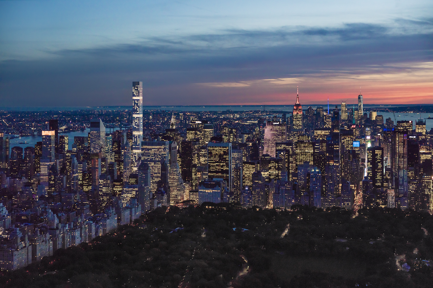 432 Park Avenue lit up from across Central Park. image by DBOX for CIM Group/Macklowe Properties