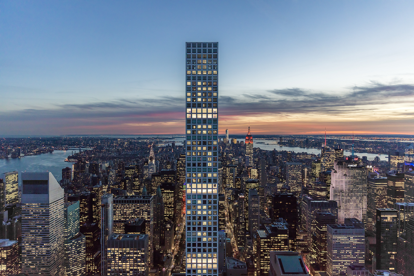 432 Park Avenue illuminated. image by DBOX for CIM Group/Macklowe Properties