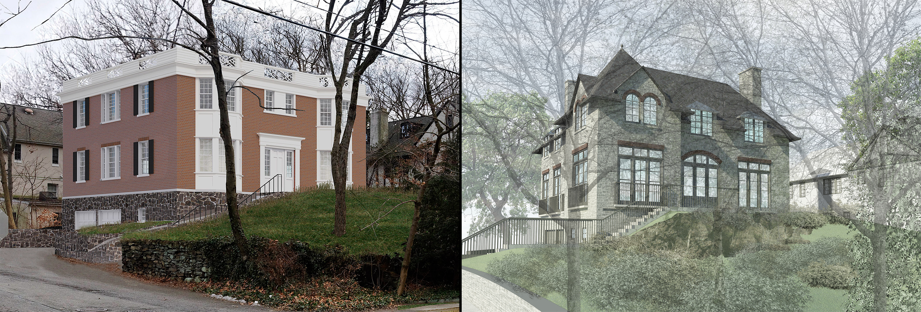 Previous and revised proposals for new house no. 3, as viewed from Fieldston Road