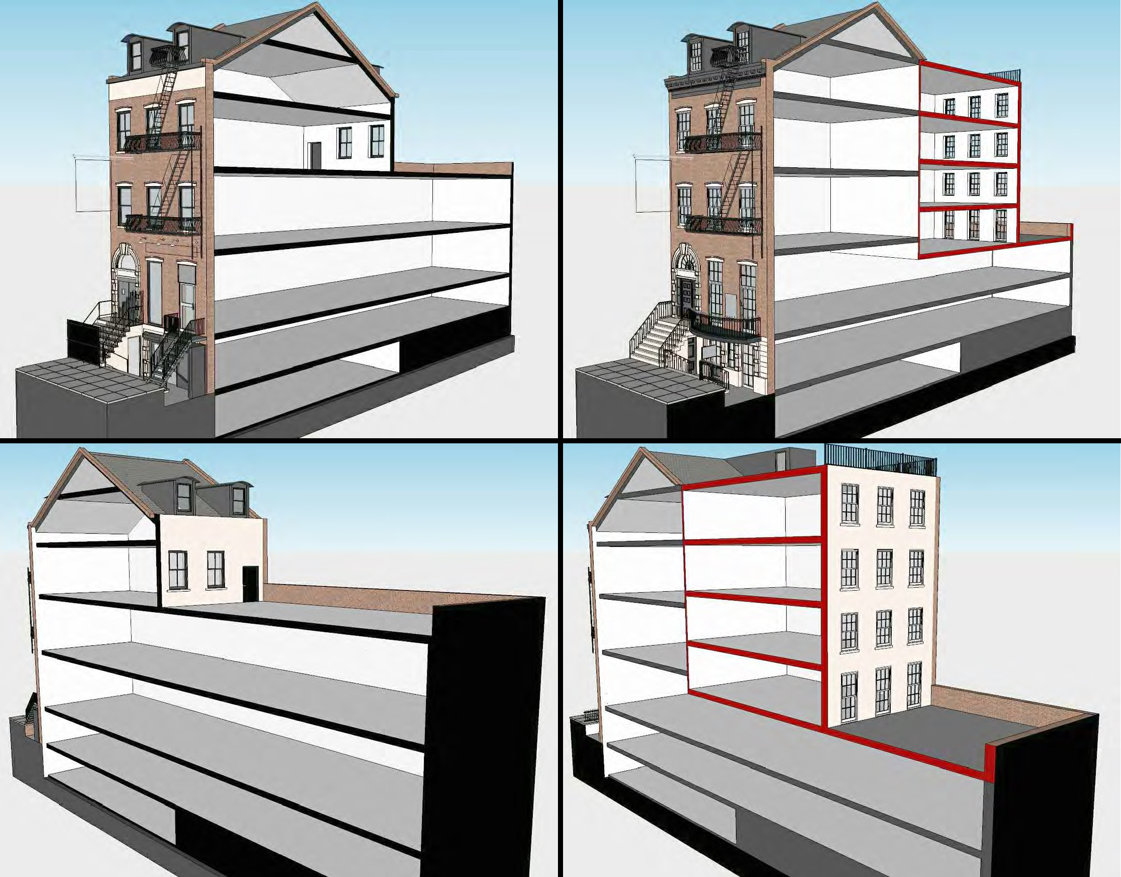 Sectioned renderings of the Hamilton-Holly House at 4 St. Mark's Place, existing and proposed