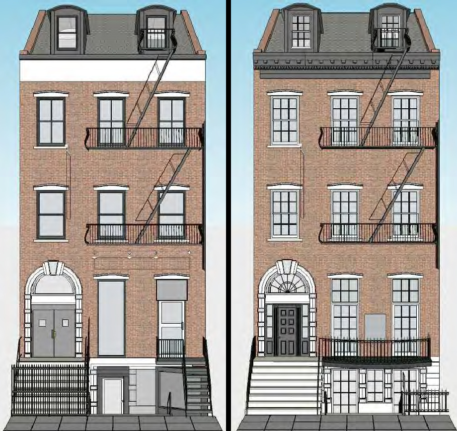 Front of the Hamilton-Holly House, existing and proposed