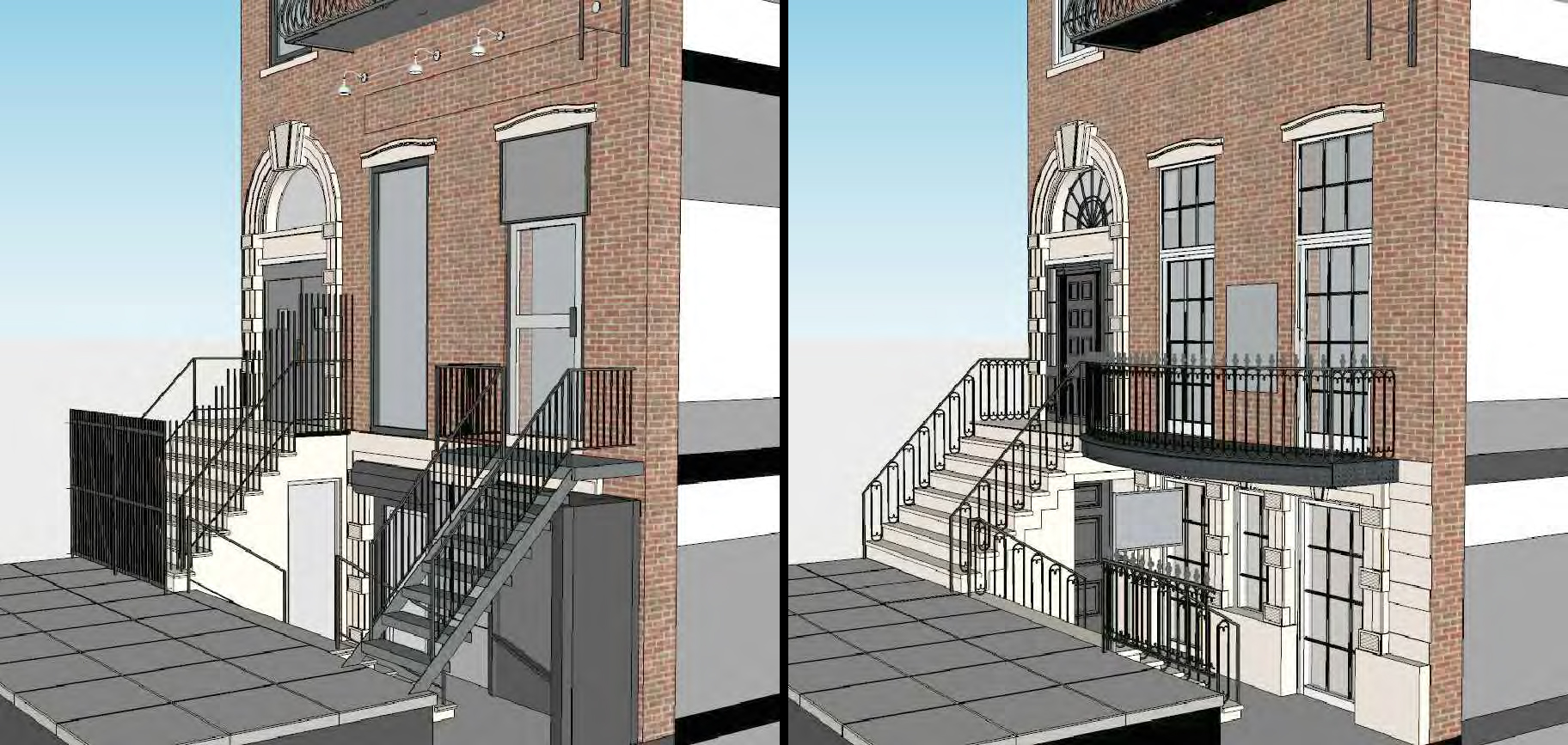 Ground and first floor of the Hamilton-Holly House, existing and proposed