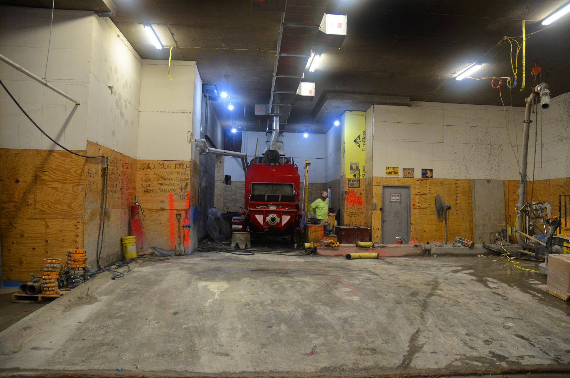 Concrete pump on the ground floor of 53W53