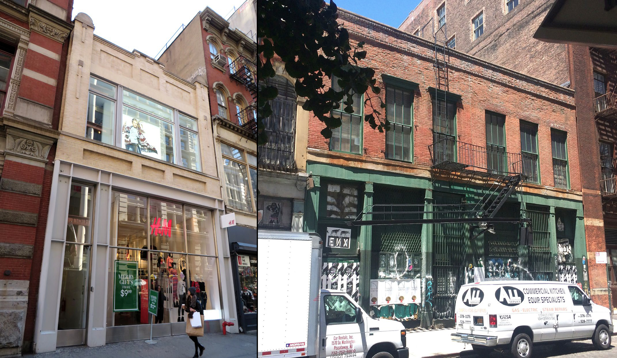 Existing conditions at 558 Broadway (left) and 94-96 Crosby Street (right)