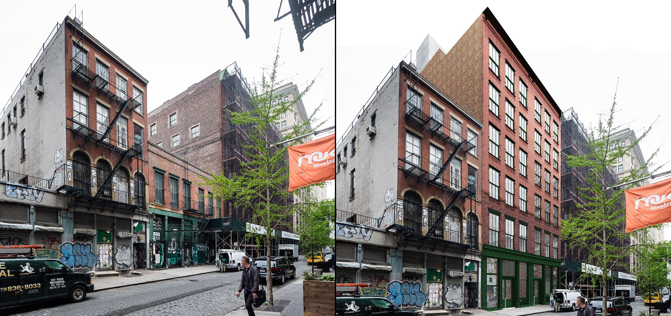 94-96 Crosby Street, existing and proposed