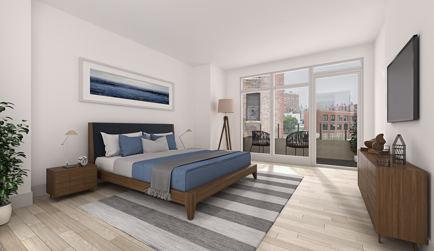 A bedroom at 952 Columbus Avenue. rendering via Douglas Elliman